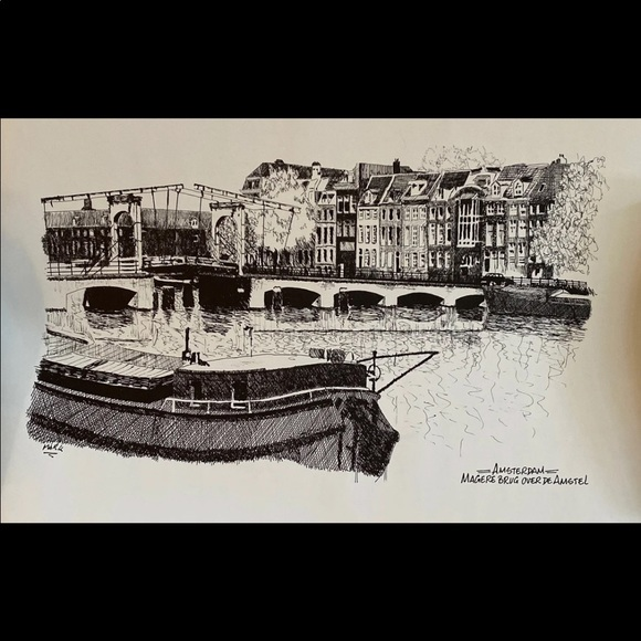 Amsterdam Scenic Bridge B&W Ink Sketch Print